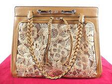 VALENTINO Leather Shoulder Bag Handbag FLOWER MOTIF LACE 100% Auth From JAPAN