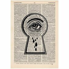 Keyhole Eye Bleeding Dictionary Print OOAK, Anatomical, Art,Unique,Gift,