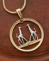 "Giraffe Pendant and Necklace, Rhodesia Coin Hand Cut,3/4"" in Dia., ( # 266 )"
