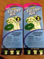 2- Tulip DIY 1 Color Green Tie Dye Kit- Dyes 3 Shirts Each  0.19 Oz