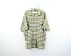 Vintage Patagonia Mens Large Spell Out Organic Cotton Plaid Short Sleeve Shirt