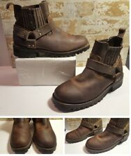 GBX Harness Buckle Biker Boots Mens Size 7.5 BROWN Slip on Low Ankle Super Clean