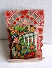 Vintage Valentines Day Pull Down Card Boy in Garden w Butterfly Be My Valentine!