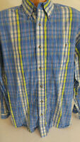 Wrangler Twenty X Mens XL Blue and Yellow Plaid Shirt Long Sleeve