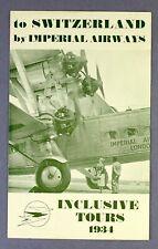 IMPERIAL AIRWAYS SWITZERLAND 1934 INCLUSIVE TOURS BROCHURE TIMETABLE