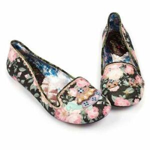 Irregular Choice 'Tetsudo' (A) Black Floral Slip On Flat Shoes EU 36 / UK 3.5