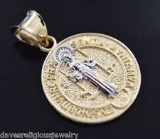 San Benito Moneda Oro Medalla 14k Gold St Saint Benedict Pendant Religious Charm