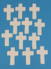 Edible Sugar White Crosses Cup Cake Toppers For Christening & Communion X 12