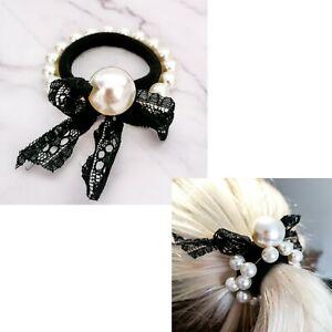 Ivory Pearl Style Hair Tie Scrunchie Hair Bobble Hair Elastic Band Work Gym
