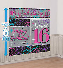 SWEET 16 Scene Setter HAPPY BIRTHDAY party wall decoration kit 6' teen sixteen