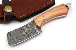 CUSTOM HANDMADE DAMASCUS STEEL OLIVE WOOD  MINI CLEAVER POCKET KNIFE WITH POUCH