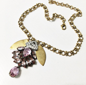 Rare $130 Lulu Frost for J.Crew Crystal Petal Necklace pink stone brass Madewell