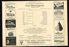 Besetzungszettel Richard Wagner Rheingold Staatsoper München 2.6.1952 G. Solti