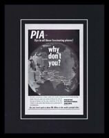 1967 PIA Pakistan Intl Airlines Framed 11x14 ORIGINAL Vintage Advertisement