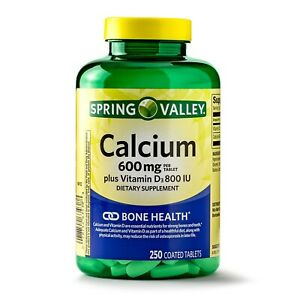 SPRING VALLEY CALCIUM COATED TABLETS plus VITAMIN D3 600mg 250ct