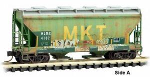 Micro-Trains MTL N-Scale Two-Bay Covered Hopper HLMX/Ex-MKT Graffiti #4182