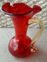 """Amberina Red Crackle pitcher 5"""" Yellow Glass Handle Christmas display Collector"""
