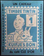 TINTIN Point Timbre cadeau du café Clé d'or Format 14 x 11 cm Parfait état