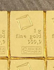 1g Gold Bar Valcambi Suisse 999.9
