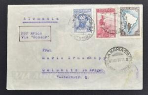 ARGENTINA to GERMANY 1938 Farmer + Map+ on CONDOR Air Flight Airmail Cover to...