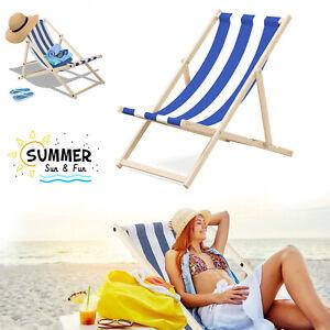 Wooden Deck Beach Folding Chair Lounger Sunbed Garden Seaside Beach Chairs Seat