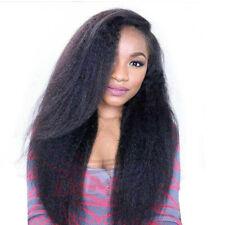 "26"" Kinky Straight Coarse Yaki Brazilian Human Hair Lace Front Wigs 150% Density"