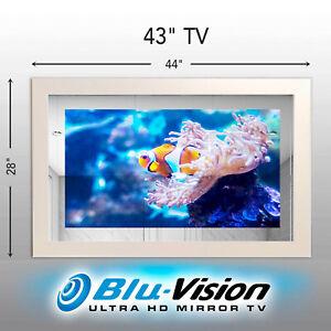 "NOW $2,799! MIRROR TV 43"" SAMSUNG Q60A QLED SMART 4KTV WHITE FRAME SIZE 44"" X28"""