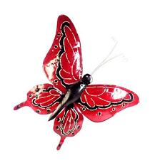HANDMADE FAIR TRADE 3D  LARGE METAL WALL ART BUTTERFLY 70CM BY 60 CM  RED