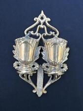 Antique Cast Brass Double Urn Match Safe Holder with Striker Circa 1867