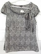 NWT ESSENTIALS BY MILANO WOMEN SHIRT [ L ] BLACK AND WHITE, S/SLEEVE