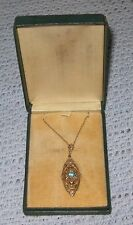 Antique Lavalier Necklace Filigree with Blue Stone Gold chain in original box