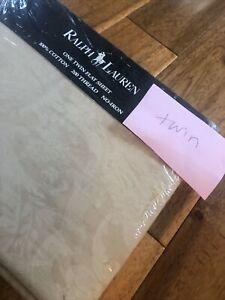 NEW Ralph Lauren Avery Cafe Beige Paisley Floral 2 Tone TWIN Flat sheet Made USA