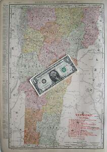 VT Lg 1910 DATED VERMONT RAILROAD Map 1910s Listed Railways Burlington Rutland