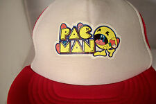 Vintage Pac-Man Video Game Mesh Trucker Snapback Hat Red & White Fits M/L