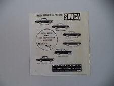 advertising Pubblicità 1961 SIMCA ETOILE/ELYSEE/ARIANE/CASTEL/MONACO/MONTHLERY
