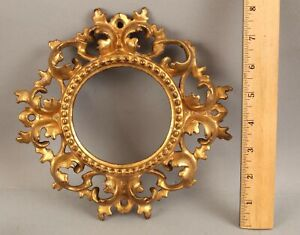 Antique Italian Rococo Carved Wood Florentine Miniature Painting Gold Gilt Frame