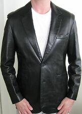 HERMES Leather Jacket Classic Mens Black Lambskin 2 Button Blazer $15K Retail