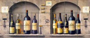 28 x 12 Art Mural Tumbled Marble Wine Bottles Decor Backsplash Tile 318