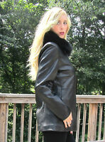 Women Leather Jacket W/ Fur Collar Black by Nordstrom Size Small Mint Condition