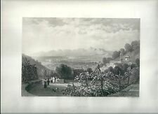 1847 LEGHORN LIVORNO dal Monte Nero Toscana acquaforte acciaio Mapei Brockedon