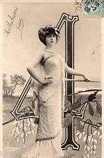 BD620 Carte Photo vintage card RPPC Femme woman Numéro 4 Reutlinger belle époque