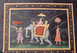 AN INDIAN JAIPURI KING & QUEEN ON ELEPHANT PROCESSION HANDMADE PAINTING ON SILK