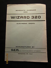 GEM Electric Organ Wizard 320 Schematic Diagrams Manual Parts List Factory OEM