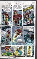 Original 1990 Marvel Avengers 325 color guide art page 25:She-Hulk/Thor/Iron Man