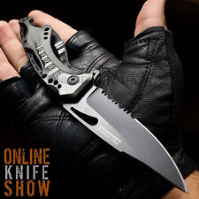 "8"" TAC FORCE GREY BOTTLE OPENER TACTICAL KNIFE Spring Assisted Open Pocket Blade"