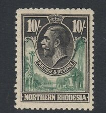 Northern Rhodesia 1925 KGV 10sh Green and Black-Mounted Mint SG16 cat £120