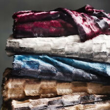 West Elm Faux Fur Offset Stripe Throw SOLD OUT NWT