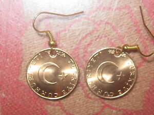 NEW TURKEY TURKISH MOON AND STAR COPPER WICCAN COIN CHARM DANGLE EARRINGS