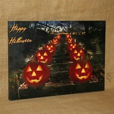 Lighted Canvas Happy Halloween Spooky Jack o Lantern Witch Tombstone