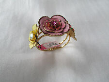 NEW Betsey Johnson Bracelet Hinged Bangle BIG Enamel Crystal Flowers